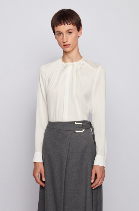 Silk-blend blouse with gathered neckline, White