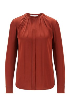 Silk-blend blouse with gathered neckline, Brown