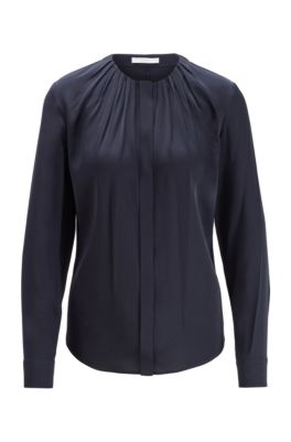 Silk-blend blouse with gathered neckline, Light Blue