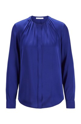 Silk-blend blouse with gathered neckline, Dark Purple