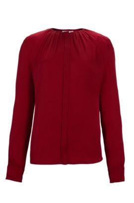 'Banora' | Gathered Silk Blend Blouse, Red