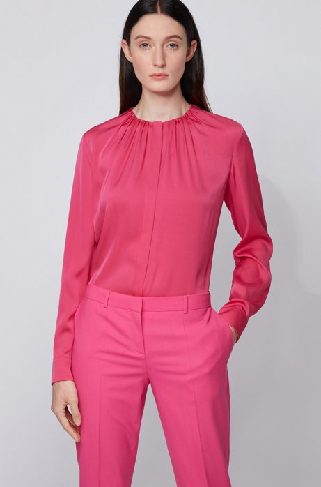 Silk-blend blouse with gathered neckline, Pink