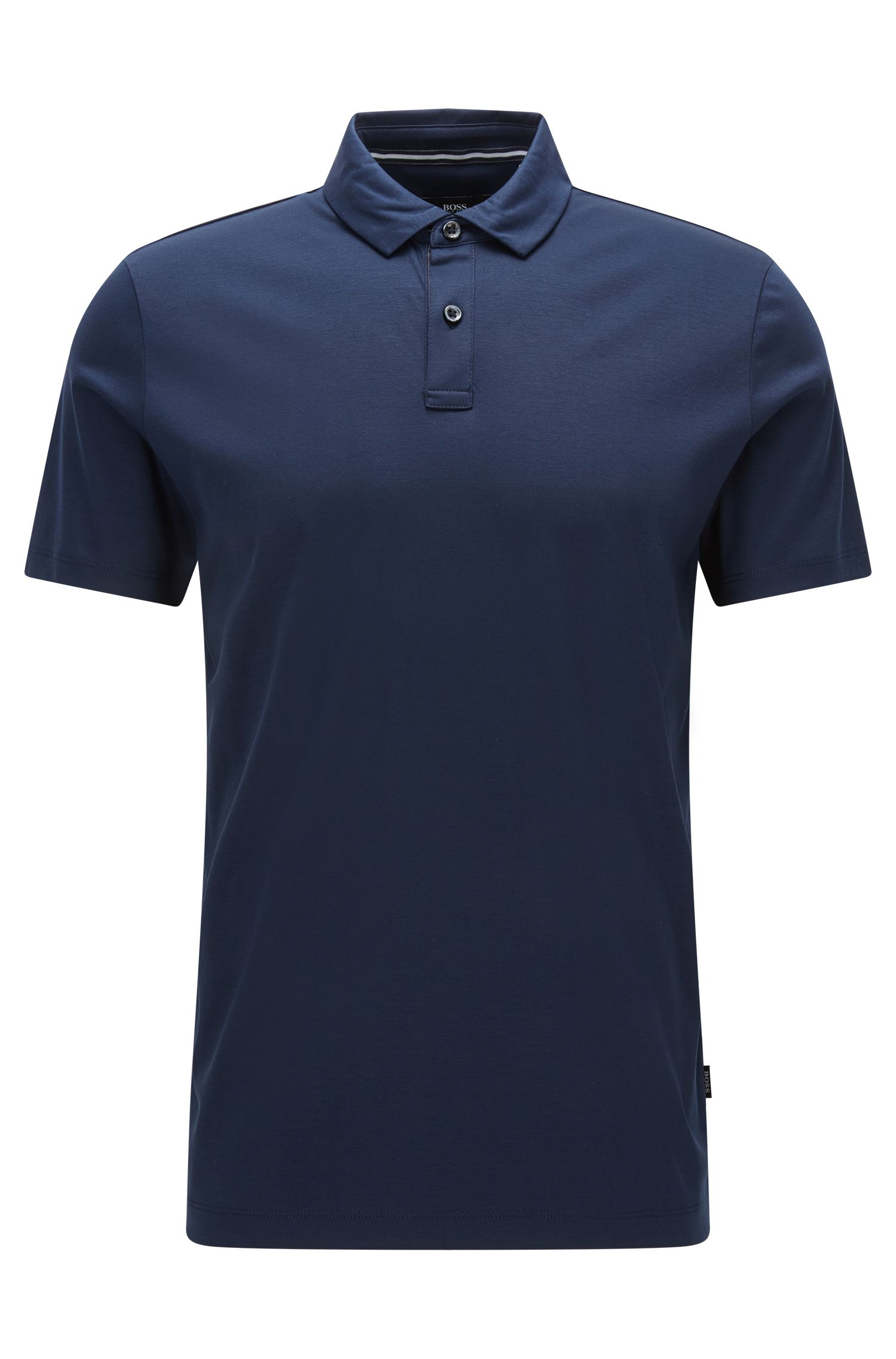 Cotton Polo Shirt, Regular Fit   Press, Dark Blue