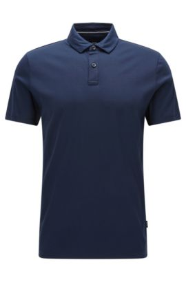'Press' | Regular Fit, Cotton Polo Shirt, Dark Blue