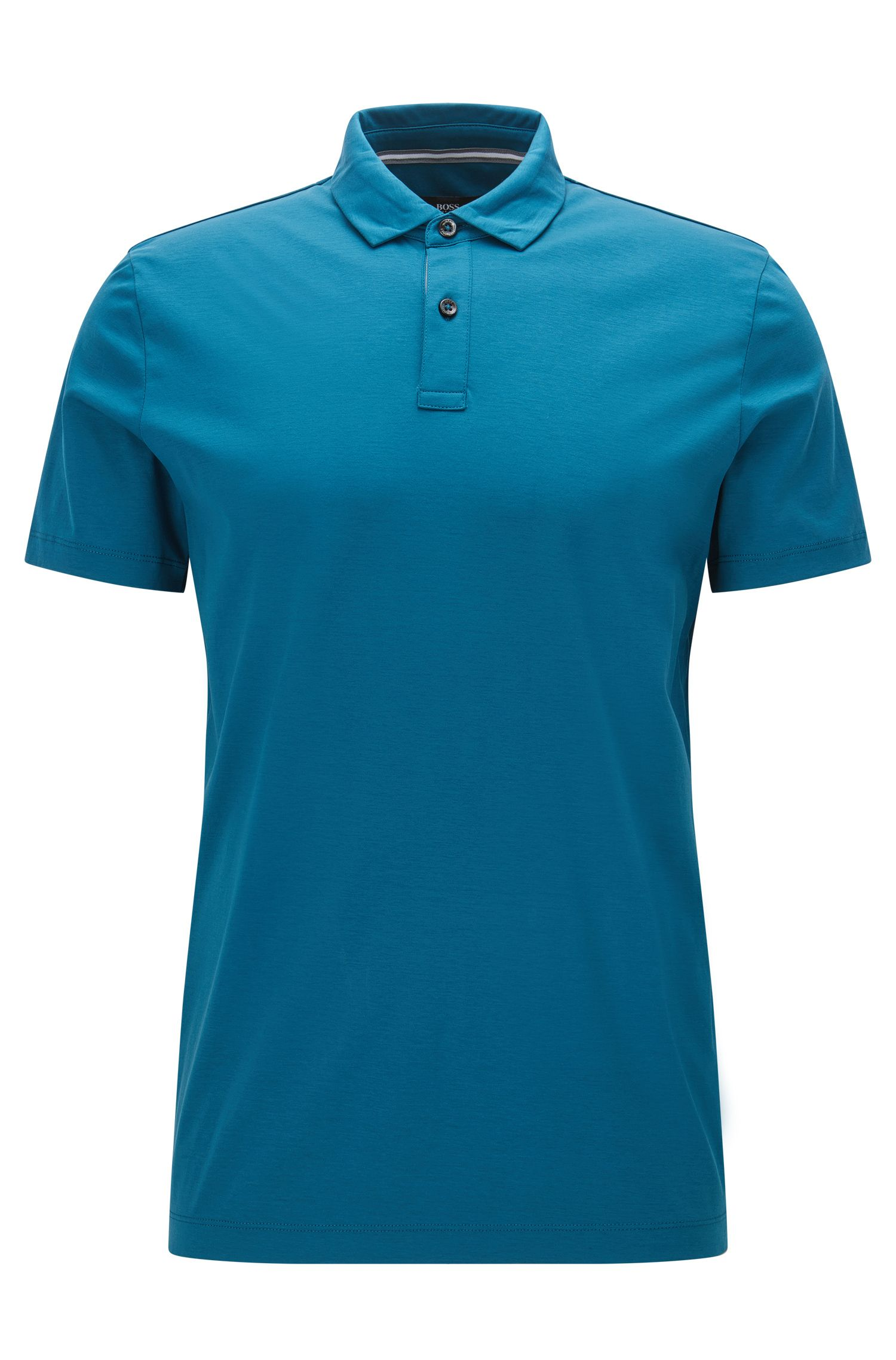 Cotton Polo Shirt, Regular Fit | Press, Turquoise