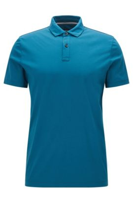 'Press' | Regular Fit, Cotton Polo Shirt, Turquoise