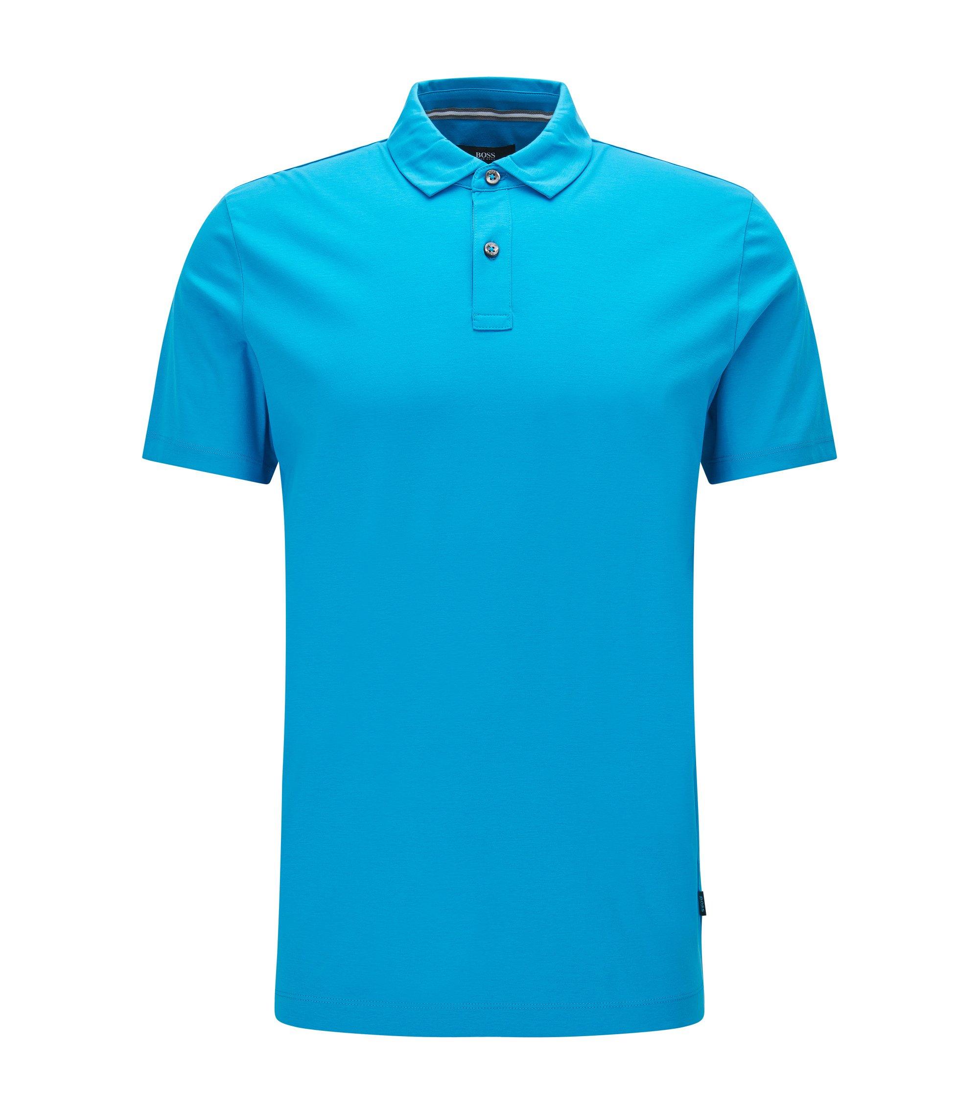 Cotton Polo Shirt, Regular Fit   Press, Light Blue
