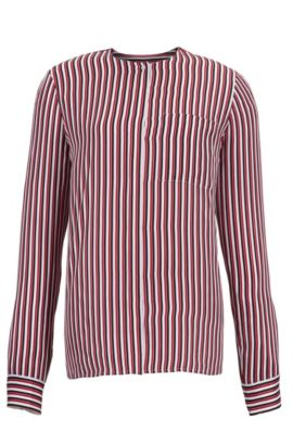 'Barani' | Striped Silk Blouse, Patterned