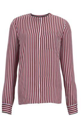 'Barani' | Striped Silk Blouse, Patterned