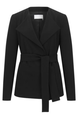'Karelina' | Self-Tie Woven Jacket, Black