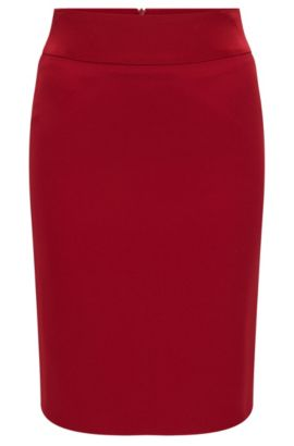 'Visala' | Crepe Pencil Skirt, Red