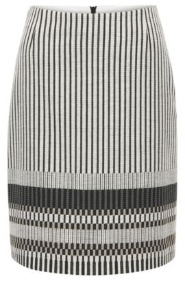 'Vemala' | Stripe Stretch Cotton Skirt, Patterned