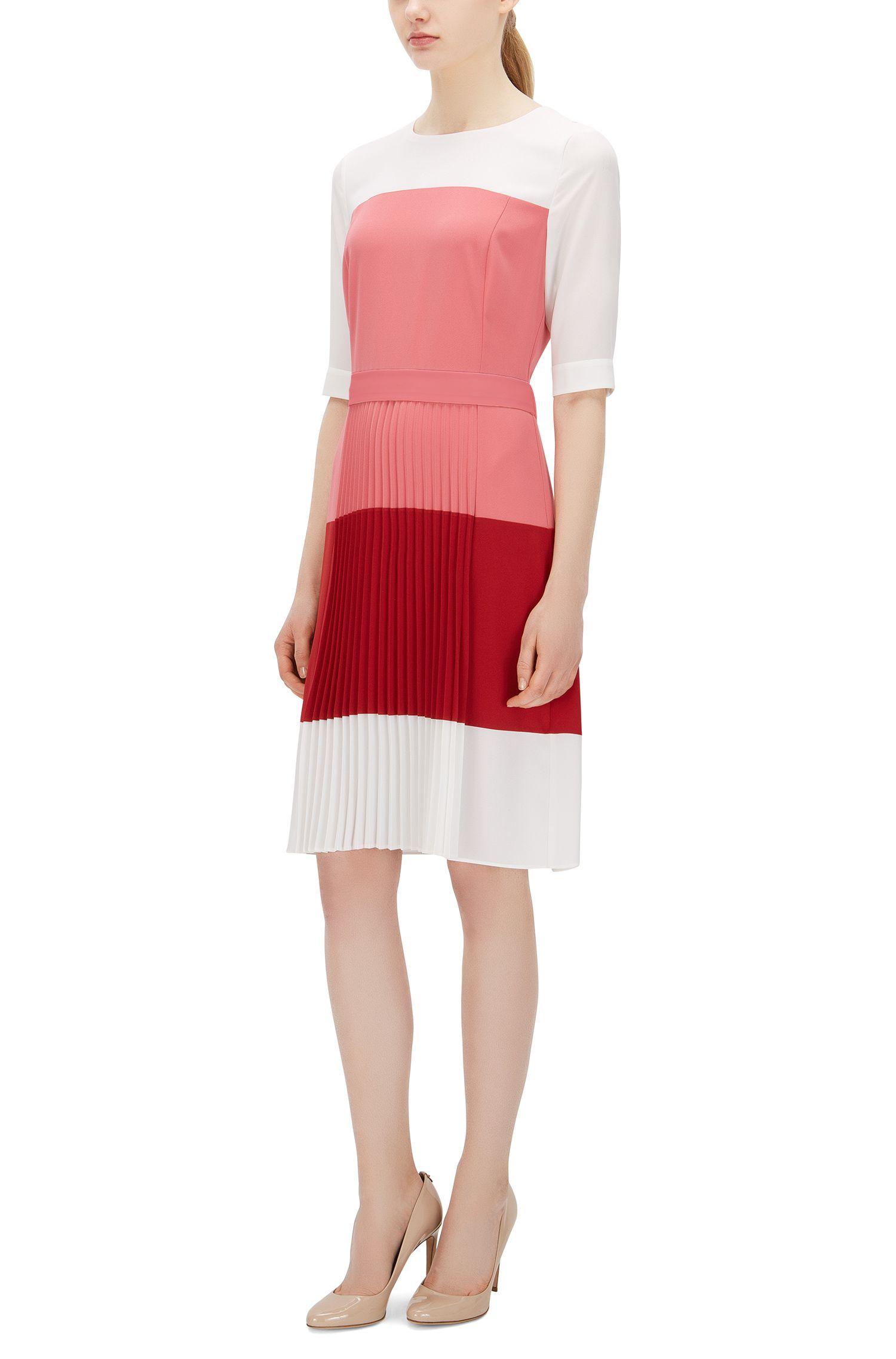 Colorblock Pleated Crepe Dress   Disena