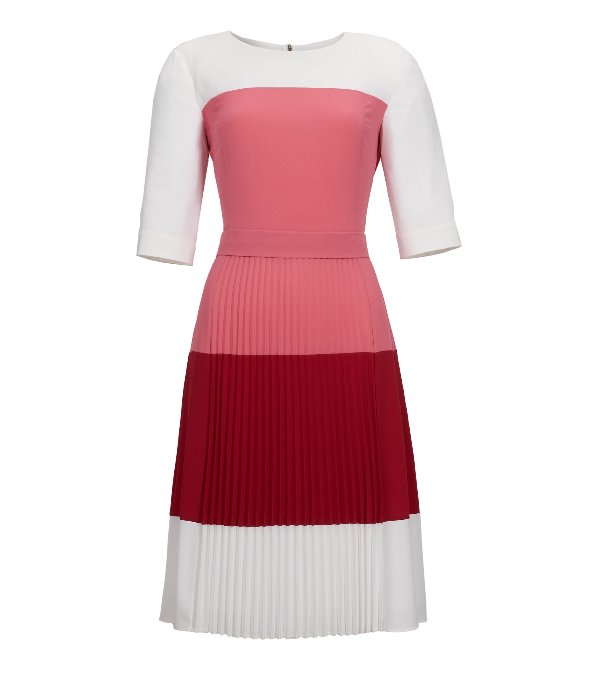 Colorblock Pleated Crepe Dress | Disena, Light Red