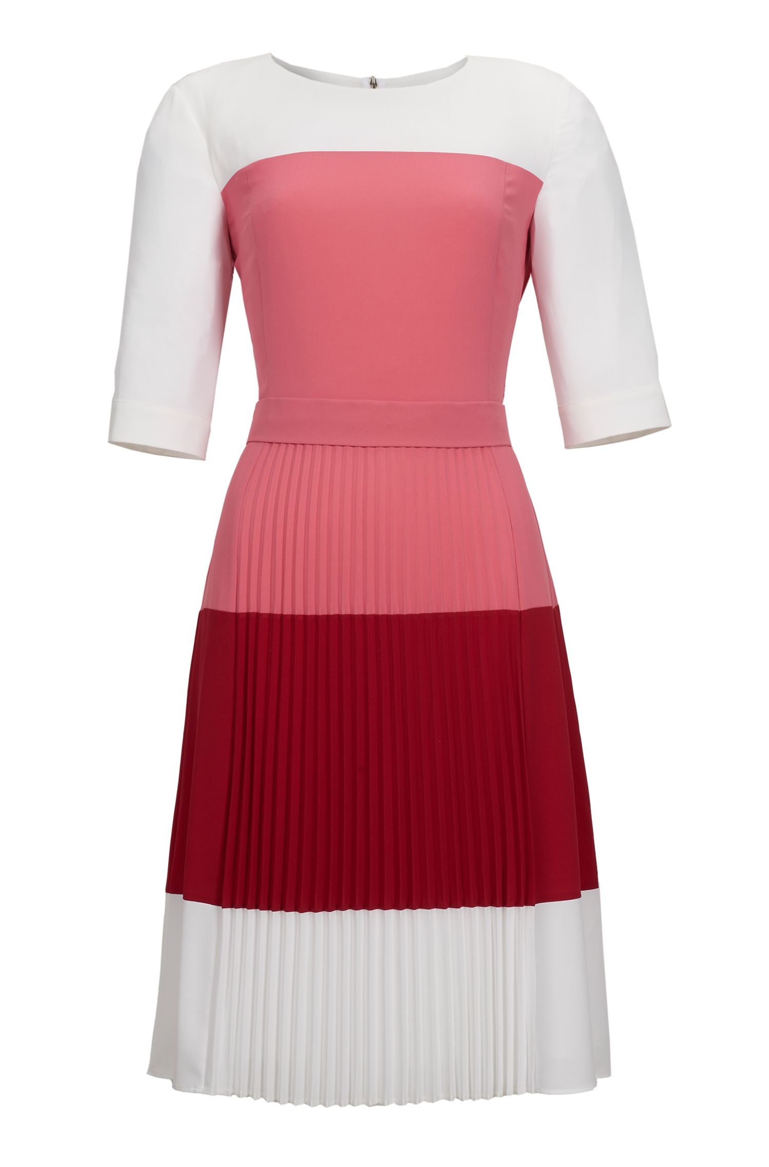 Colorblock Pleated Crepe Dress | Disena