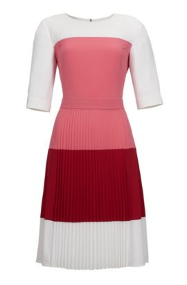 'Disena' | Colorblock, Pleated Crepe Dress, Light Red