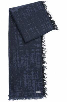 Neox | Fringed Cotton Scarf, Dark Blue