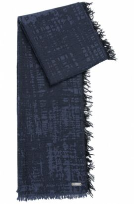 Neox | Fringed Cotton Scarf, Dark Blue