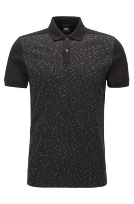 'Phillipson' | Slim Fit, Cotton Patterned Polo Shirt, Black