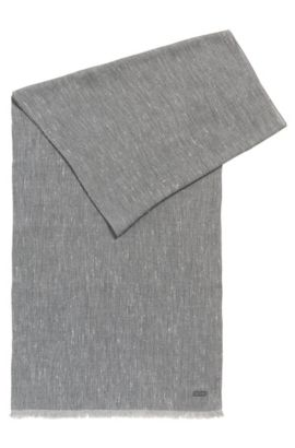 'Carrit' | Heathered Viscose Cotton Scarf, Light Grey