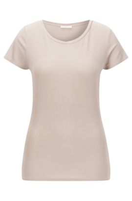 'Enala' | Scoop Neck Stretch Viscose Top, Beige