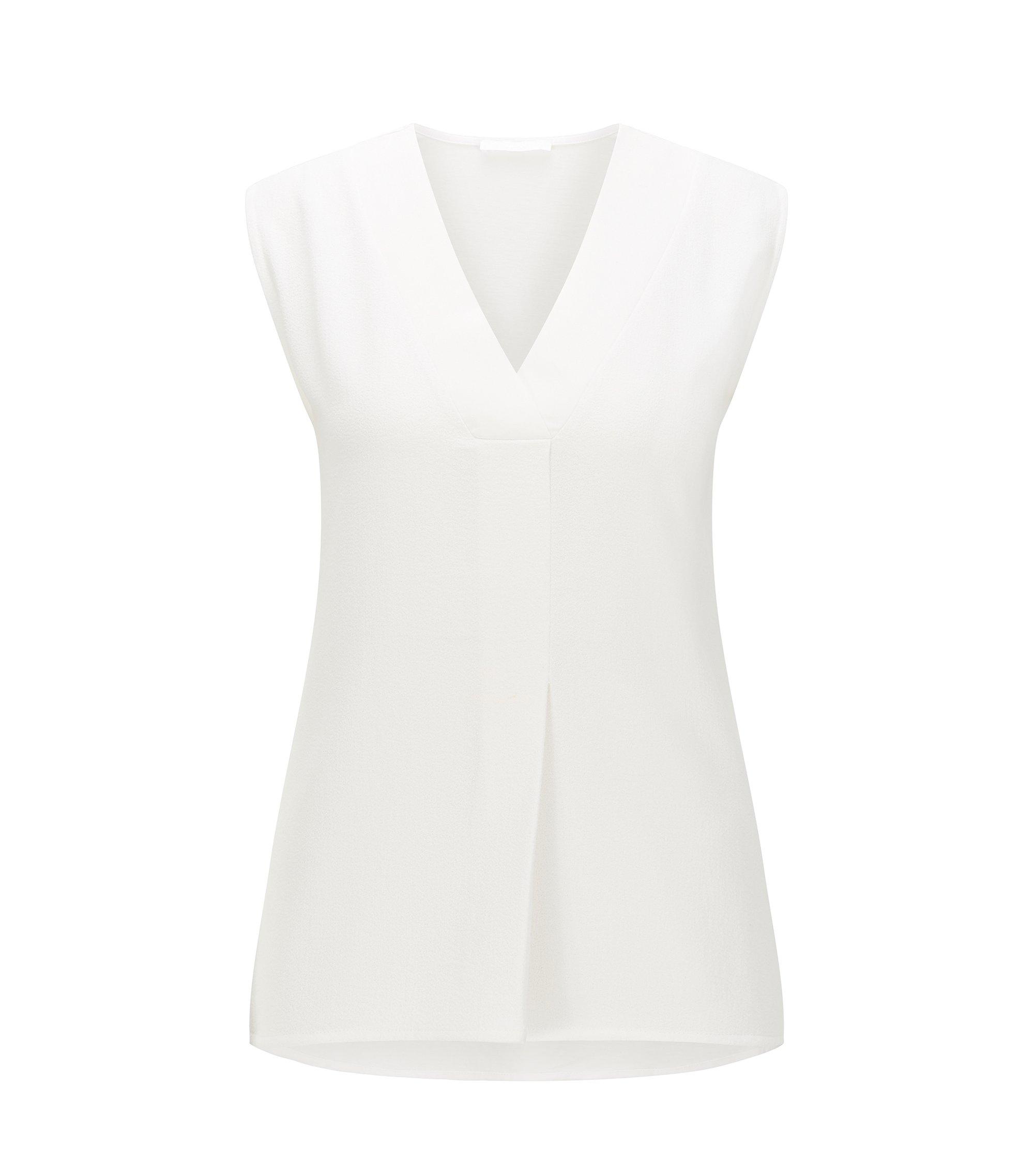 Stretch Jersey V-Neck Top | Edrina, Natural