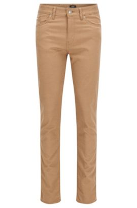 10 oz Stretch Cotton Blend Pants, Slim Fit | Delaware, Beige