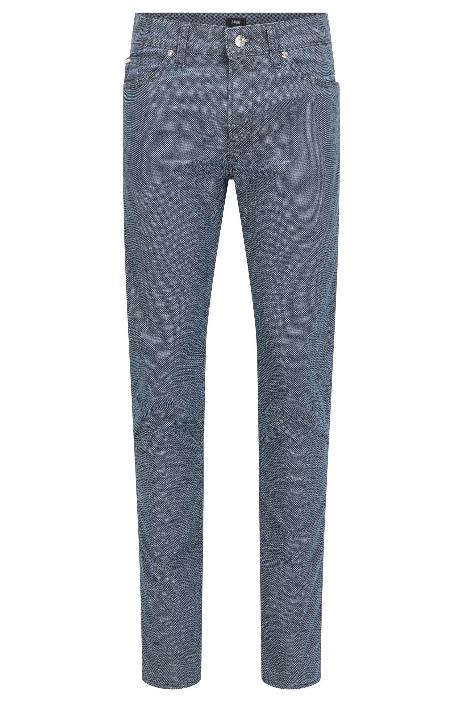 'Delaware' | Slim Fit, Geometric Stretch Cotton Jeans
