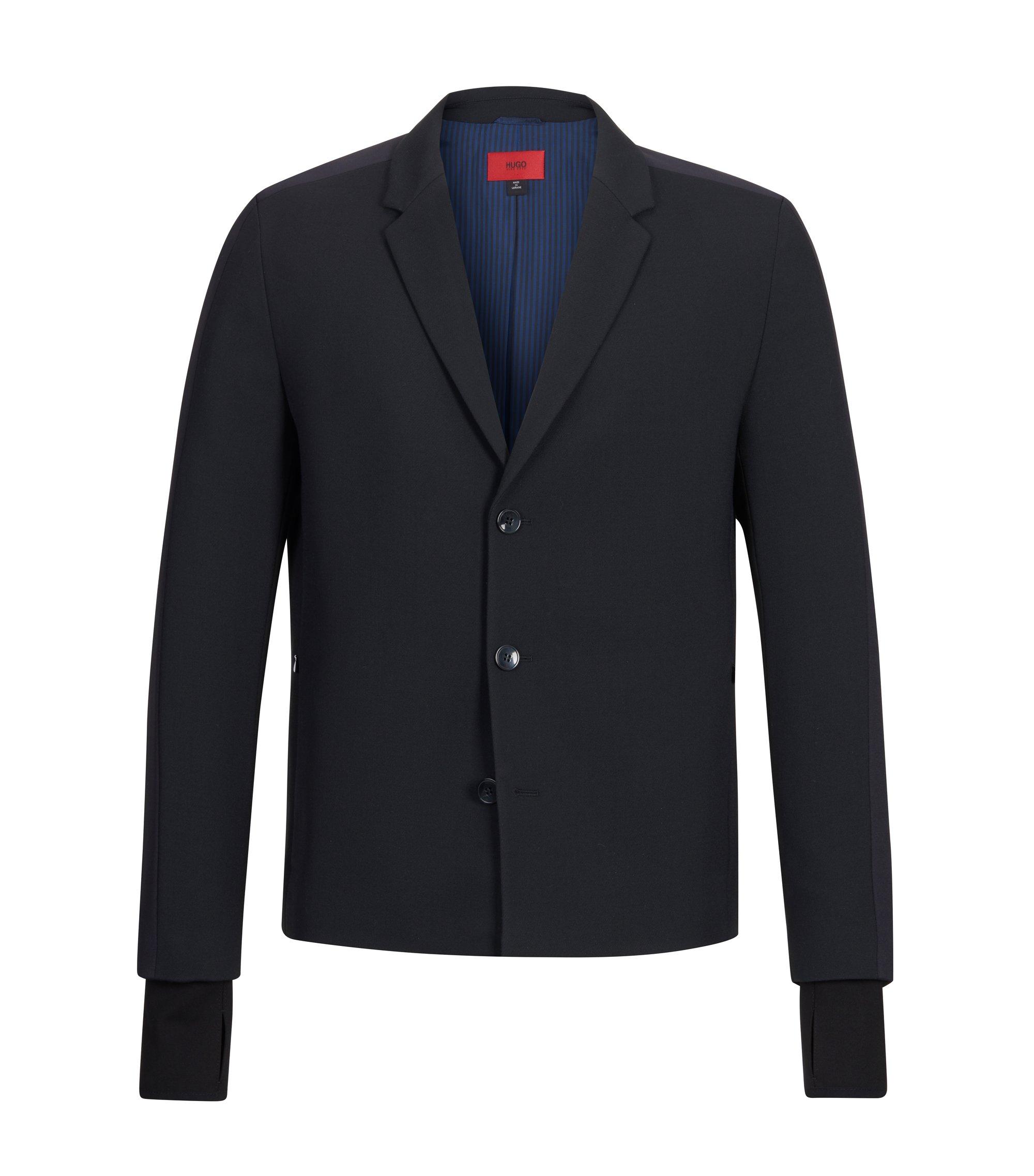 Virgin Wool Blend Sport Coat, Slim Fit   Alekto, Black
