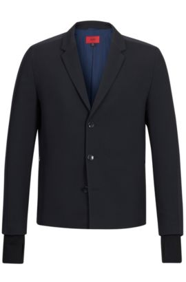 Virgin Wool Blend Sport Coat, Slim Fit | Alekto, Black