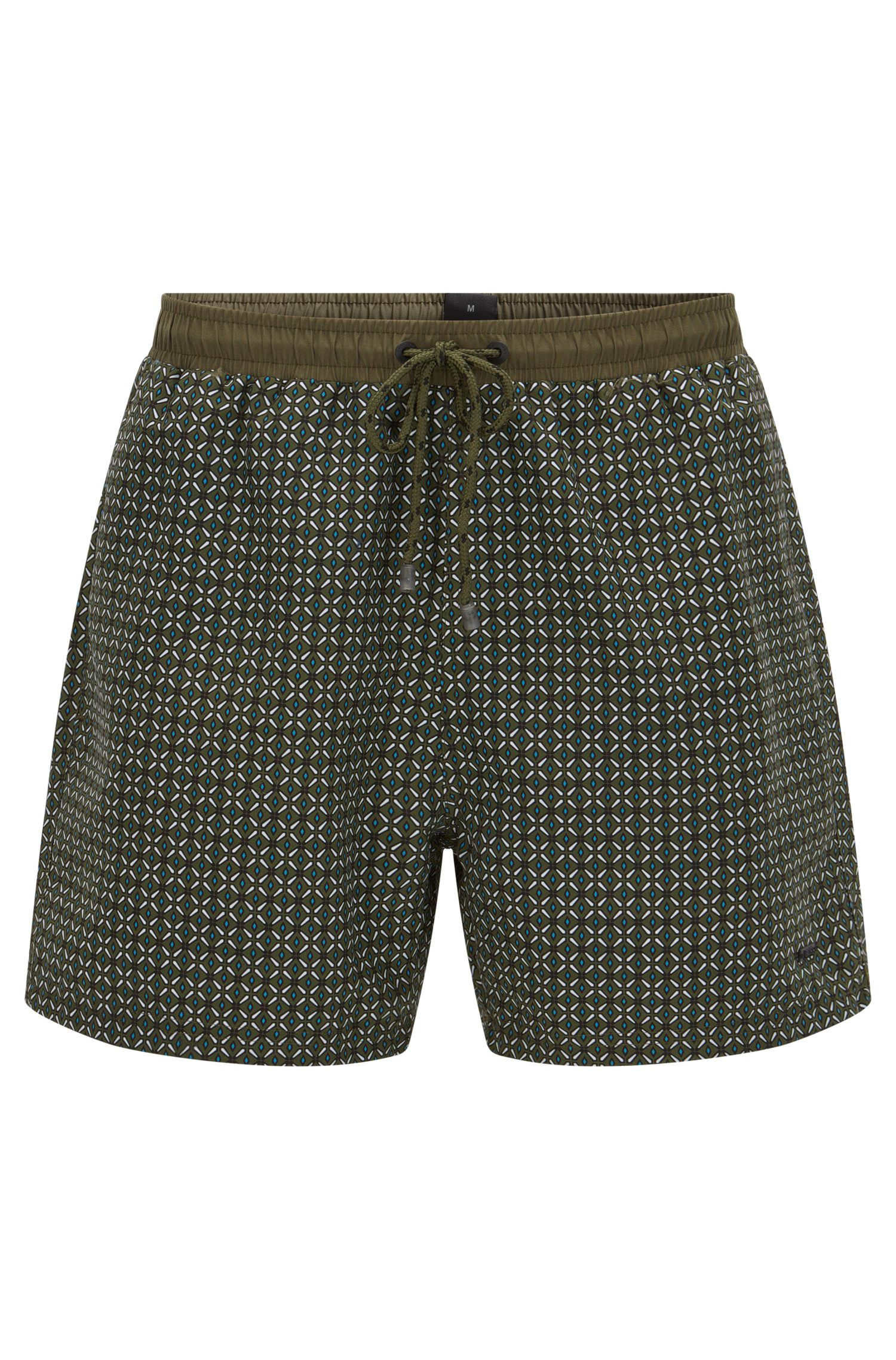 Geometric Quick Dry Swim Trunk | Piranha, Open Green