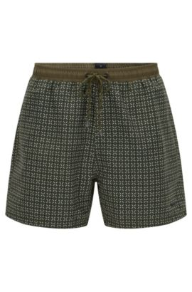 'Piranha' | Geometric Quick Dry Swim Trunks, Open Green