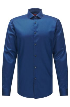 Easy-Iron Twill Cotton Dress Shirt, Extra-Slim Fit | Erondo, Open Blue