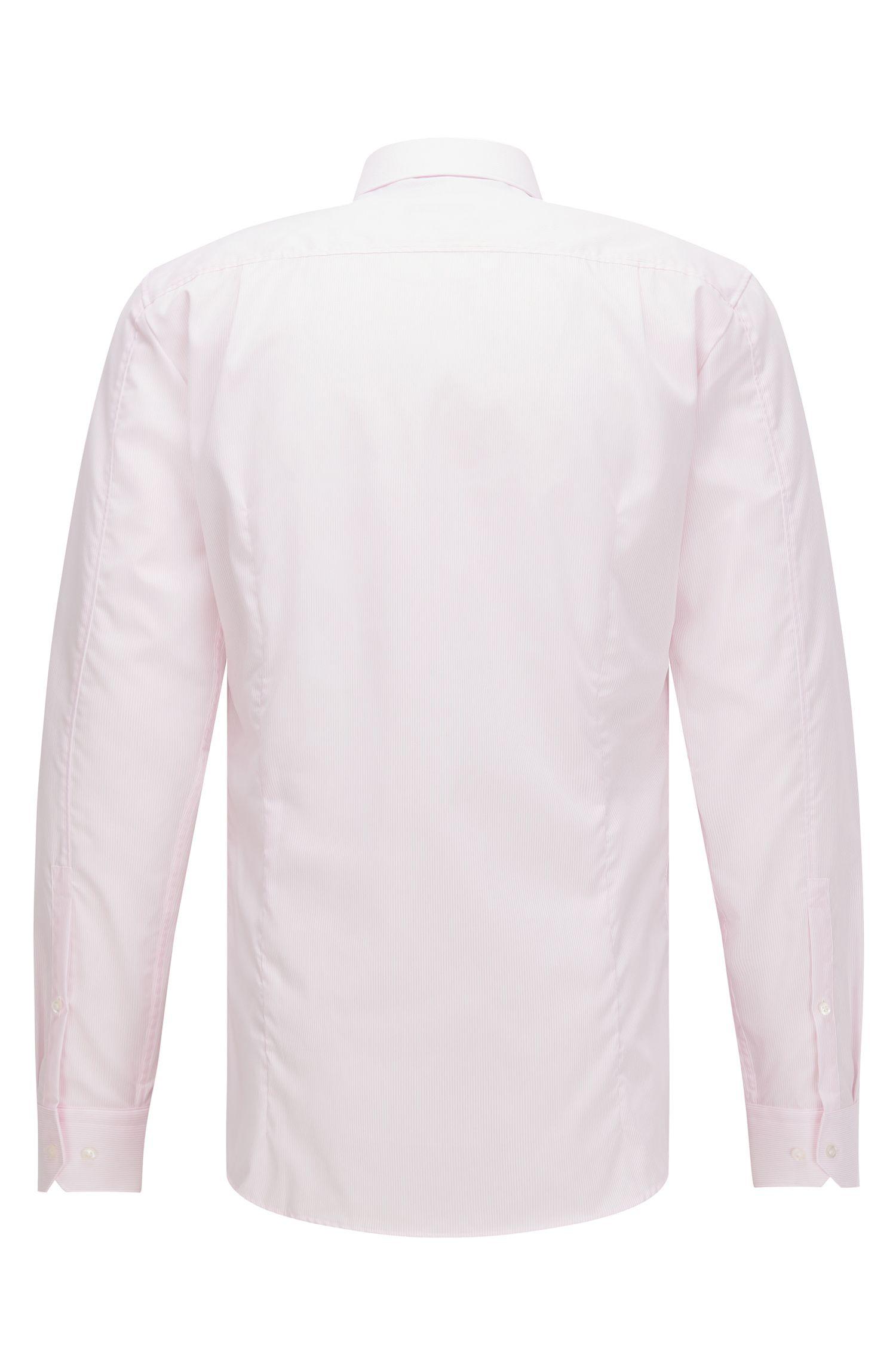 Striped Easy Iron Cotton Dress Shirt, Slim Fit   Elisha, light pink