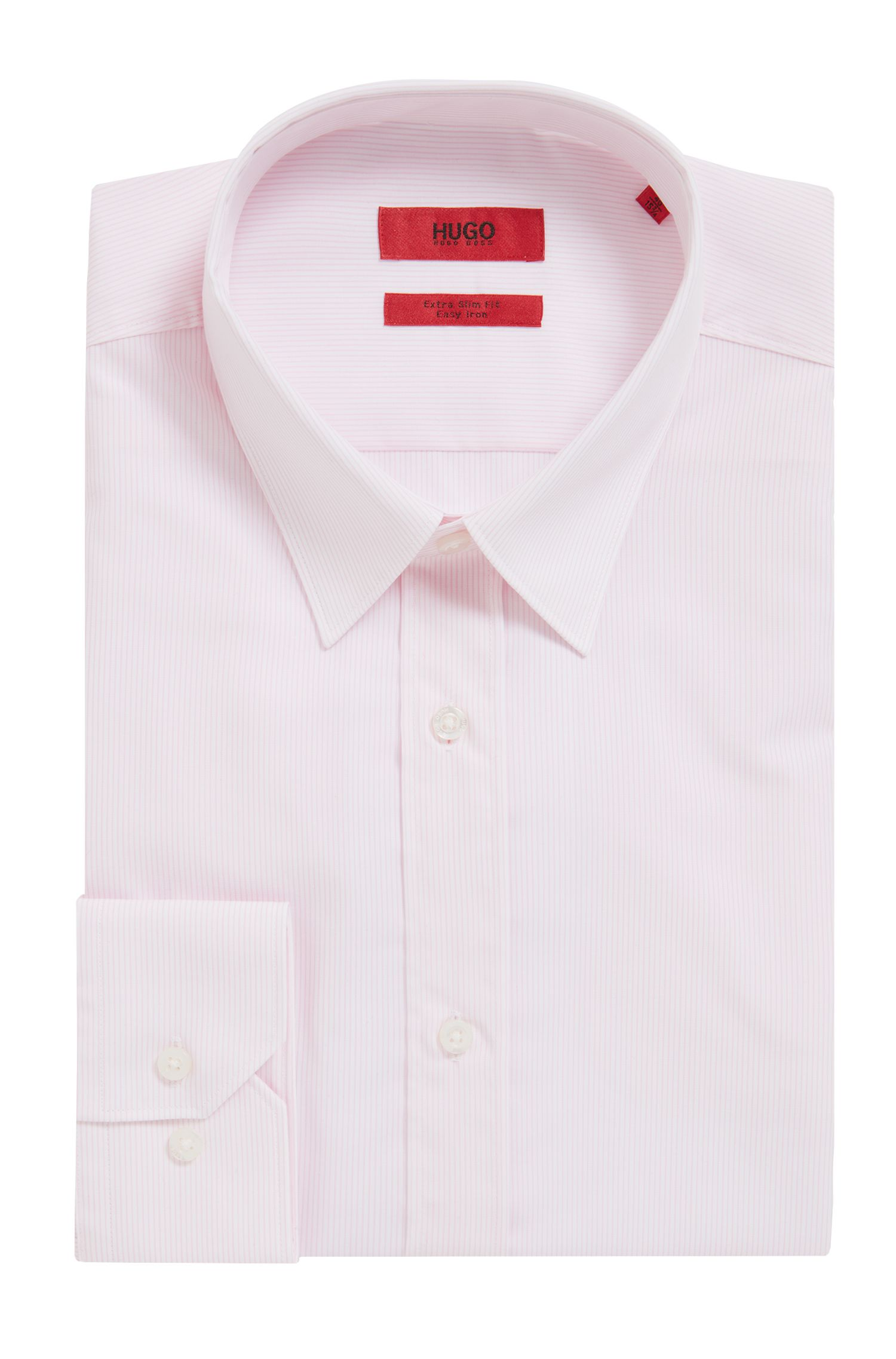Striped Easy Iron Cotton Dress Shirt, Slim Fit | Elisha, light pink