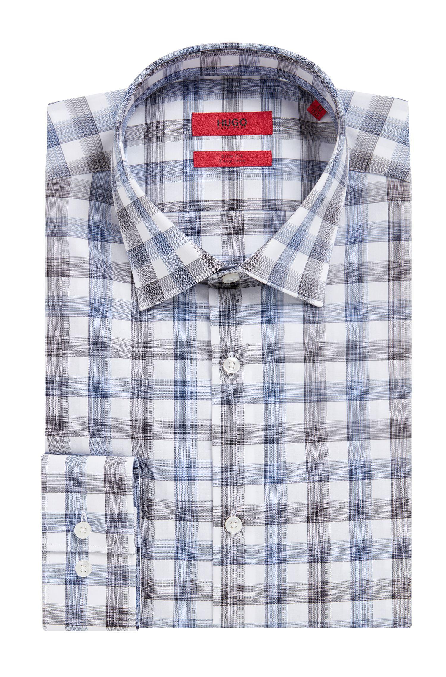 'C-Jenno' | Slim Fit, Brushed Check Easy Iron Cotton Dress Shirt