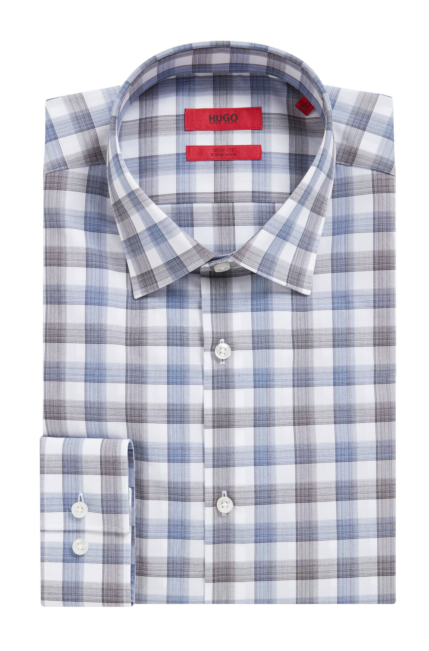 'C-Jenno' | Slim Fit, Brushed Check Easy Iron Cotton Dress Shirt