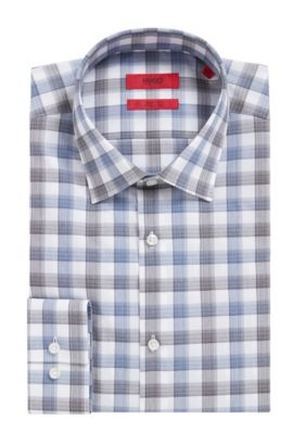 'C-Jenno' | Slim Fit, Brushed Check Easy Iron Cotton Dress Shirt, Dark Blue