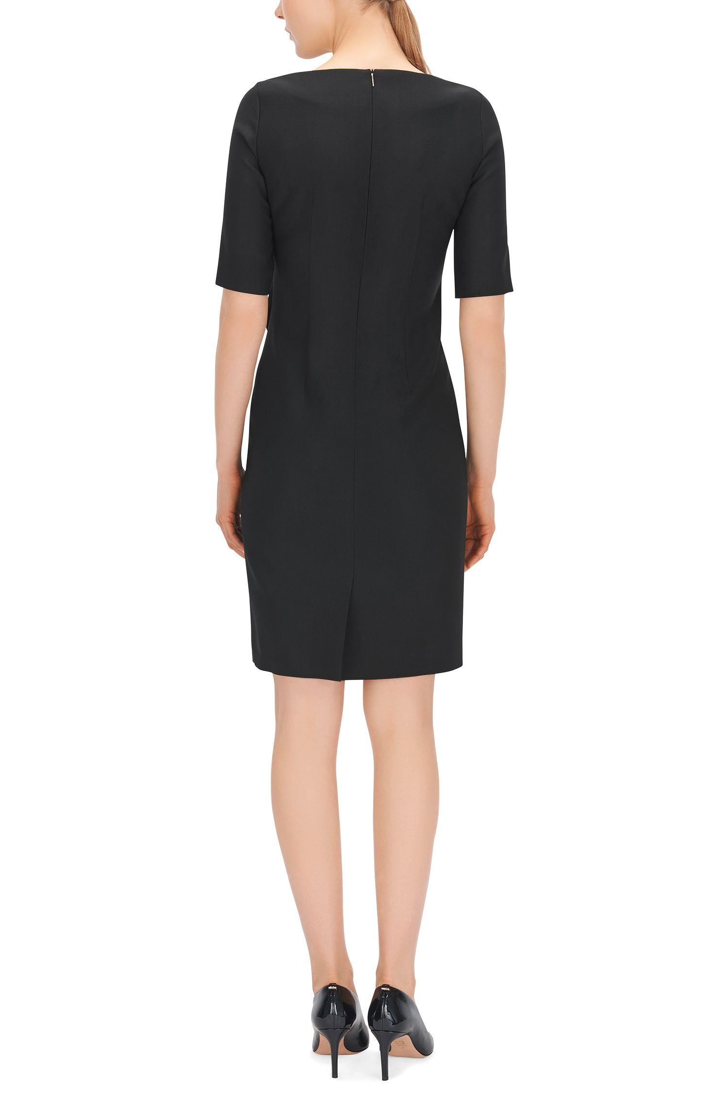 Virgin Wool Blend Asymmetrical Sheath Dress | Delera
