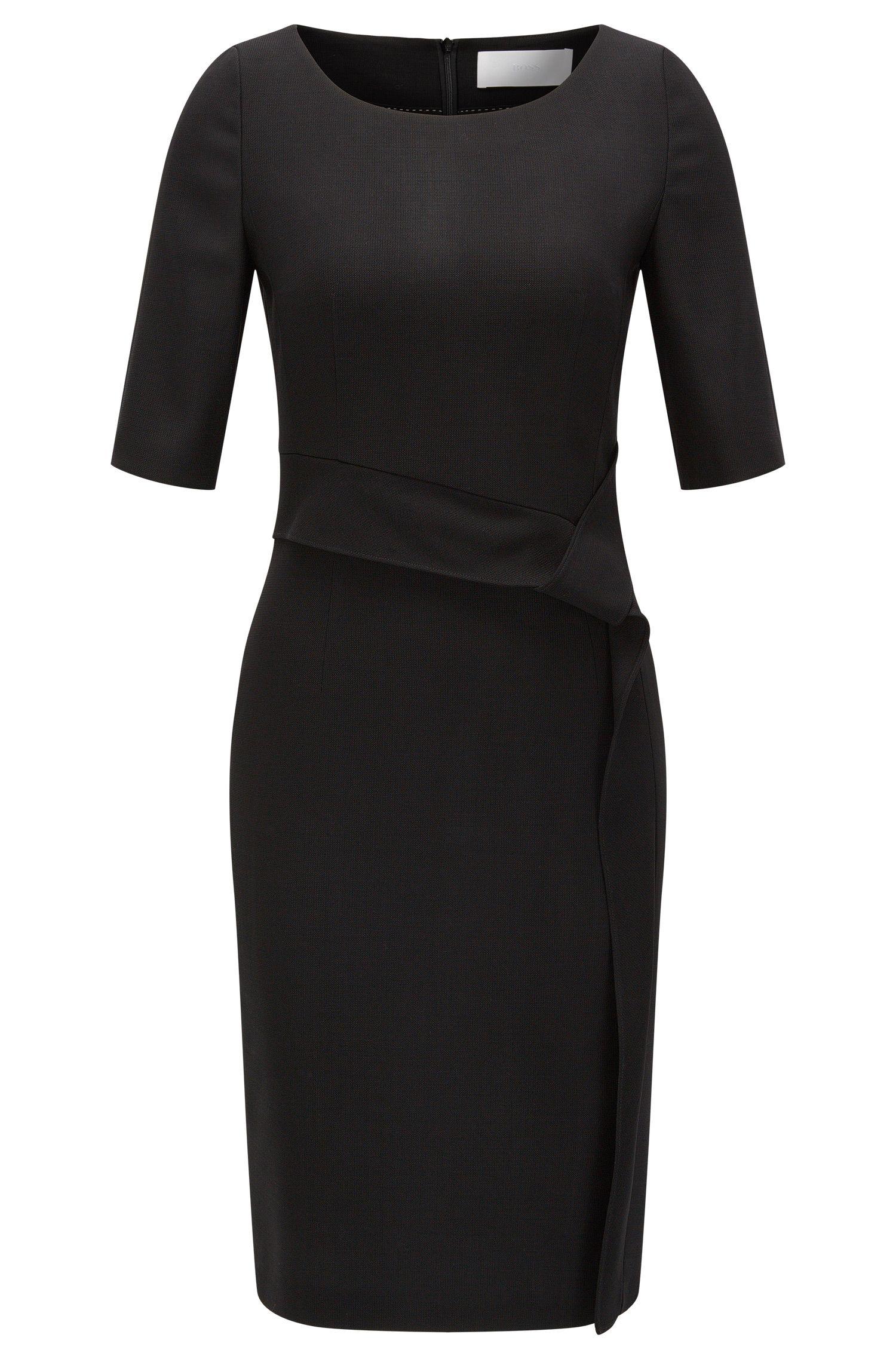 Virgin Wool Blend Asymmetrical Sheath Dress | Delera, Black