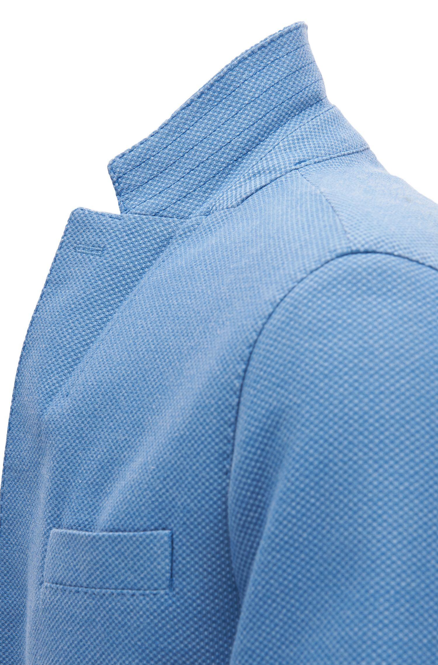Birdseye Cotton Blend Sport Coat | Niells D, Open Blue