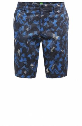 Printed Sateen Stretch Cotton Short, Slim Fit | Liem Print W, Open Blue