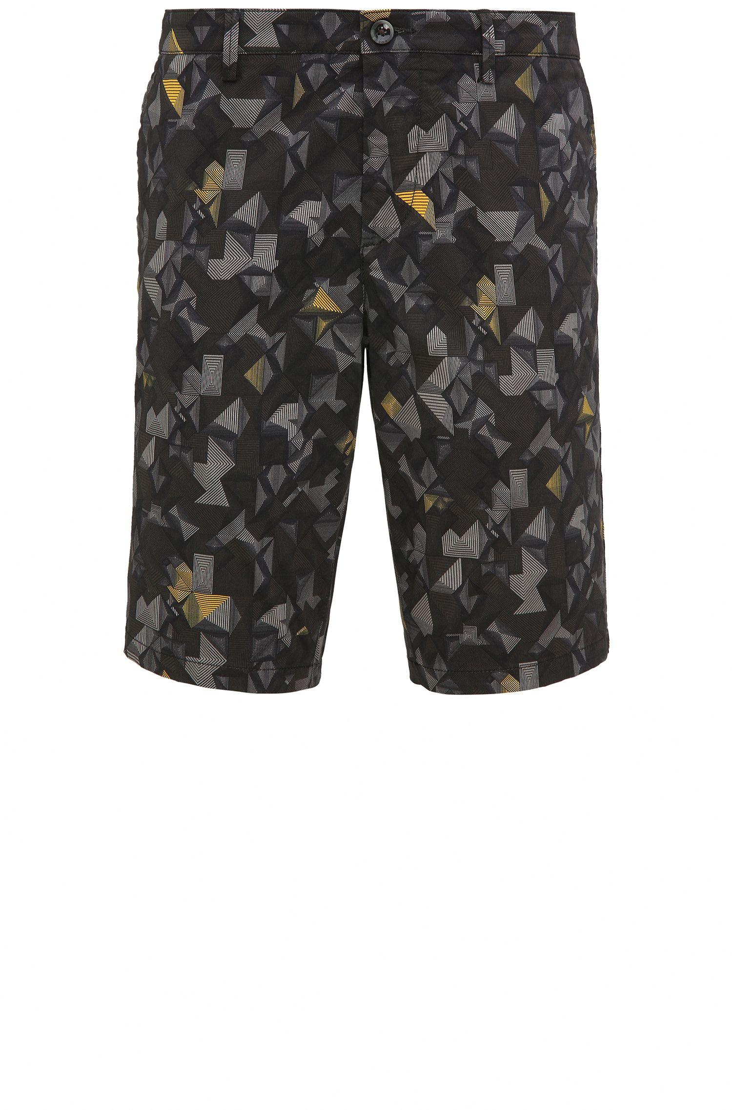 'Liem Print W' | Slim Fit, Printed Sateen Stretch Cotton Shorts