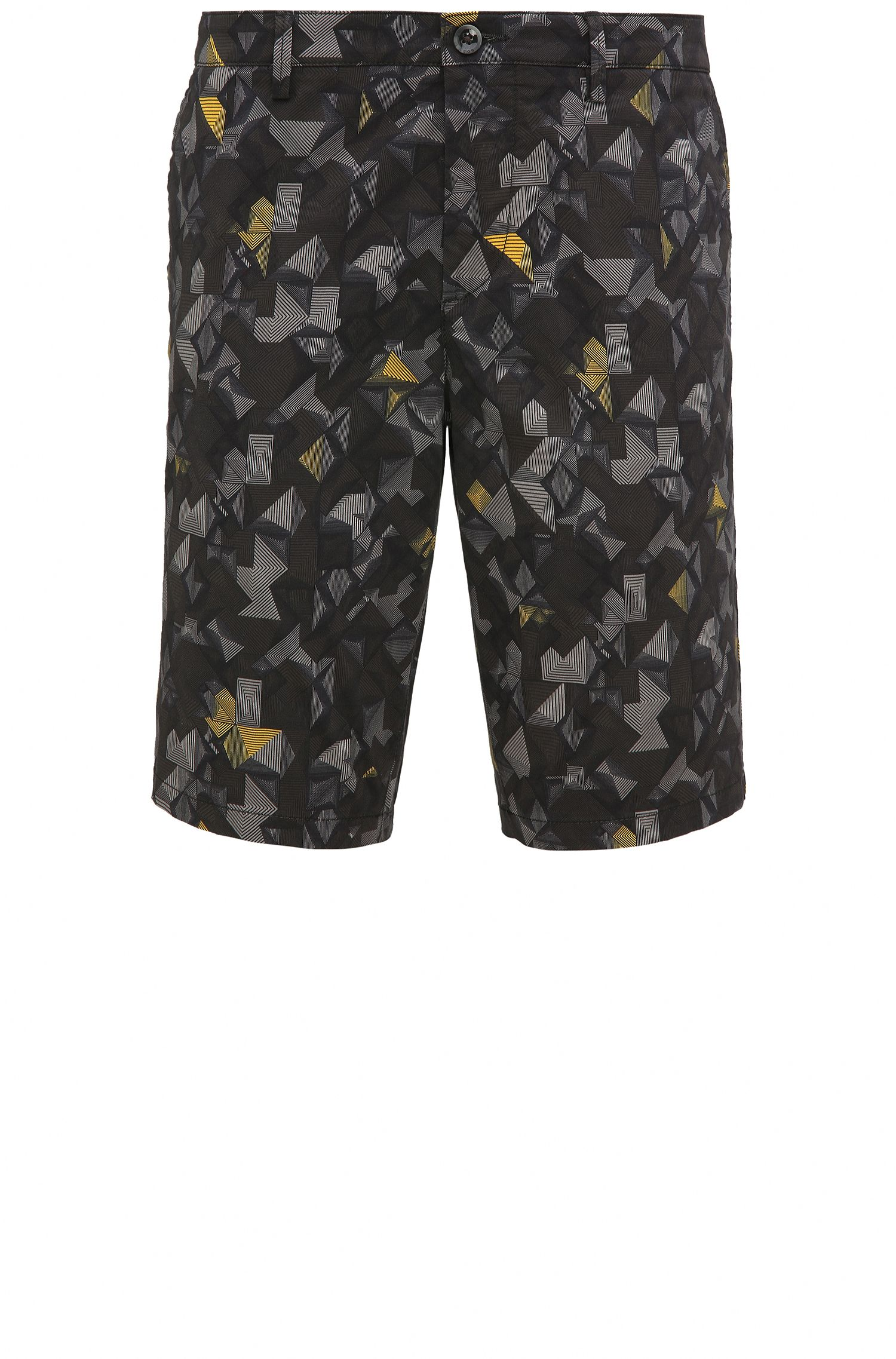 Printed Sateen Stretch Cotton Short, Slim Fit | Liem Print W, Yellow