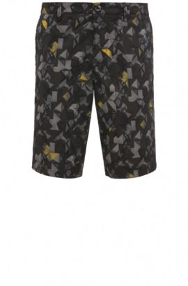 'Liem Print W' | Slim Fit, Printed Sateen Stretch Cotton Shorts, Yellow
