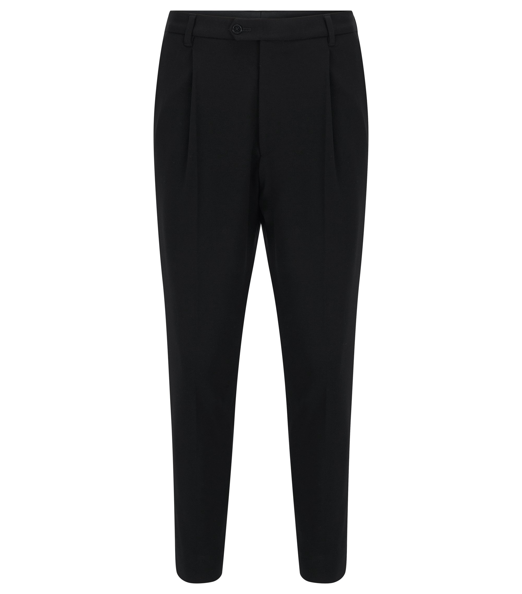 Pleated Crop Pants | Hegin, Black