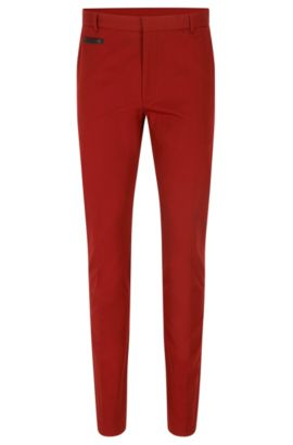 'Harlyn' | Extra-Slim Fit, Stretch Cotton Pant, Dark Red