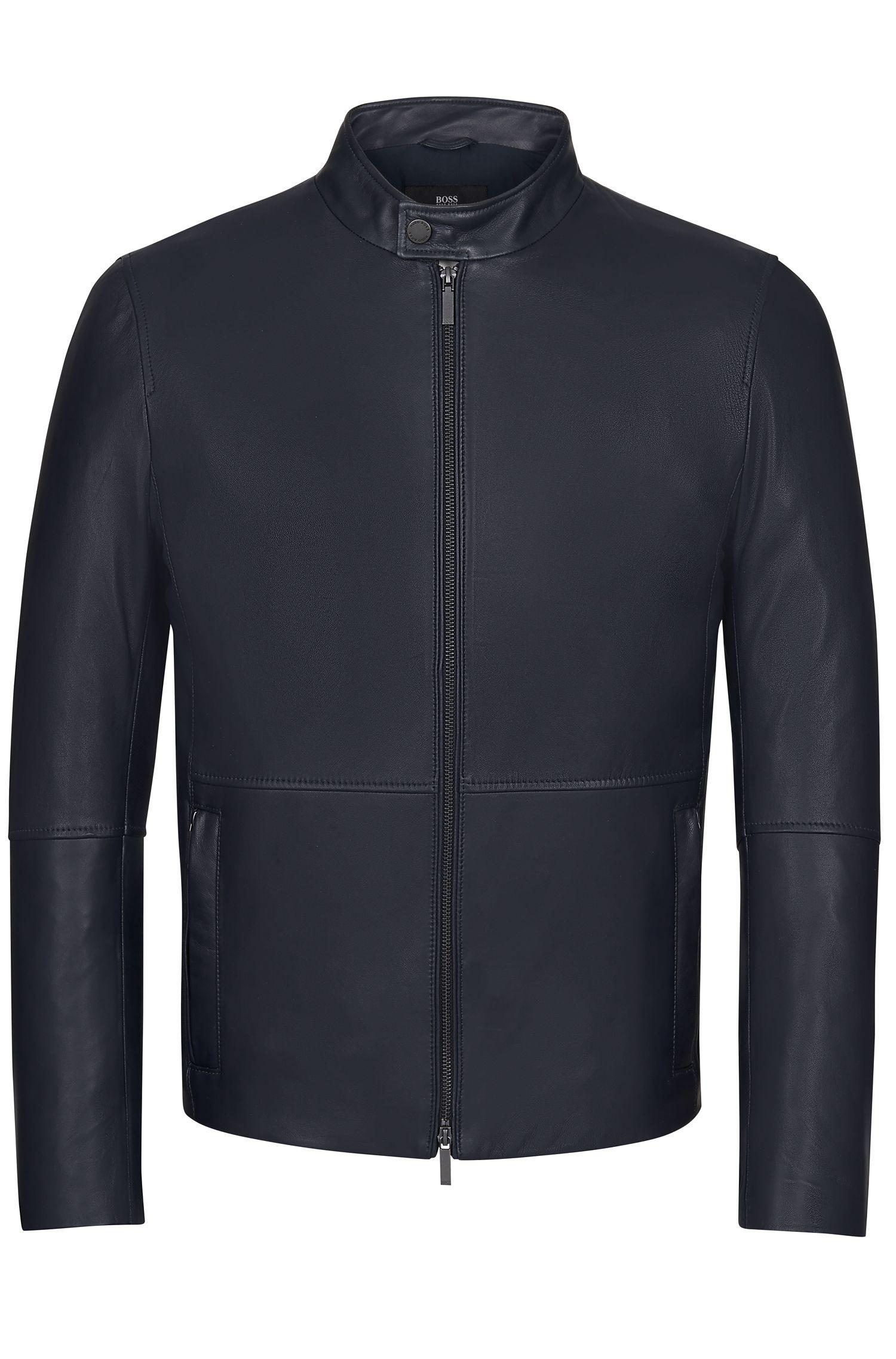 Lamb Nappa Leather Jacket | Nelkan, Dark Blue