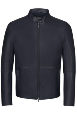 'Nelkan' | Lamb Nappa Leather Jacket, Dark Blue
