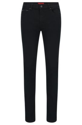 10 oz Stretch Cotton Jeans, Skinny Fit | Hugo 734, Black